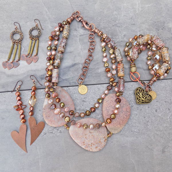 Pink, Copper and Bronze Wearable Art Jewelry Collection