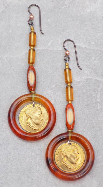 Fun Bohemian Amber Glass, Bamboo, Coin and Lucite Hoop Earrings