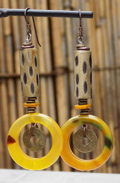 Exotic Water Buffalo Horn, Yellow Agate and Brass Coin Hoop Earrings