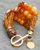 Gorgeous Baltic Amber, Yellow Jade, Bamboo & Glass Statement Bracelet
