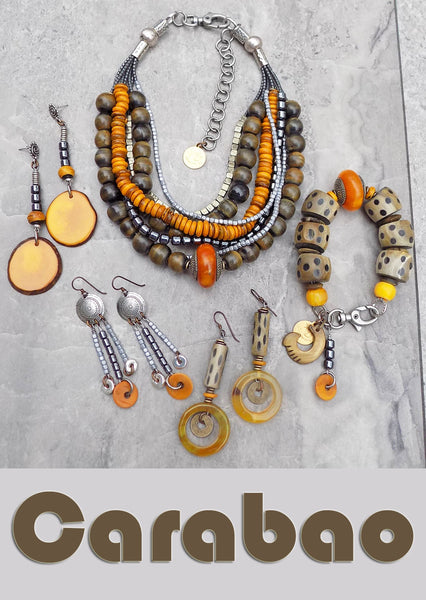Beautiful charcoal gray horn and amber yellow artisan jewelry collection