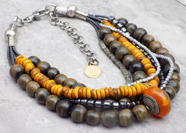Dark Gray Horn, Amber, Hematite, Pyrite and Silver Choker Necklace