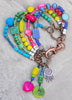Bohemian Gypsy Hippie Blue Green Pink Purple Charm Bracelet