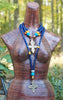 Beautiful Turkish Cobalt Blue Glass Choker and Long Ethiopian Cross Necklaces