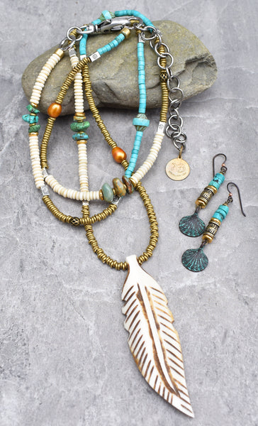 summer bohemian turquoise and bone jewelry