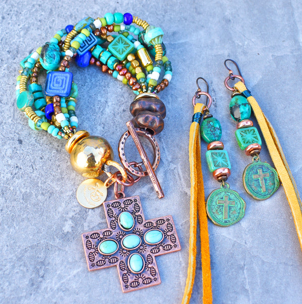 turquoise and copper cross charm bracelet and leather cross coin earrings