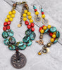 exotic and bold tibetan turquoise, coral and yellow jade jewelry