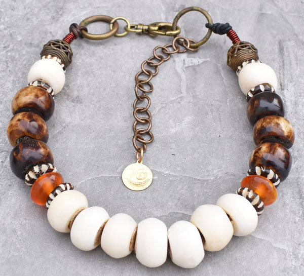 African-Inspired Bone, Brass, Leather and Amber Tribal Choker Necklace