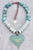 Icy Blue Amazonite and Chunky Agate Heart Pendant Necklace
