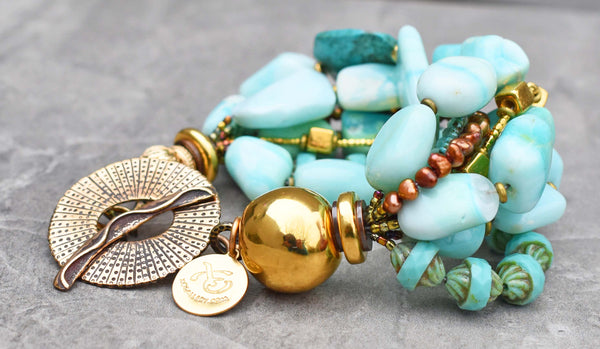 Peruvian Blue Opal, Turquoise Glass, Copper and Gold Statement Bracelet