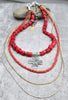 Red Coral and Silver Cross Long Bohemian Necklace