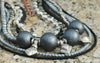 Captivating Gray, Charcoal, Black and Mixed Media Silver Necklace