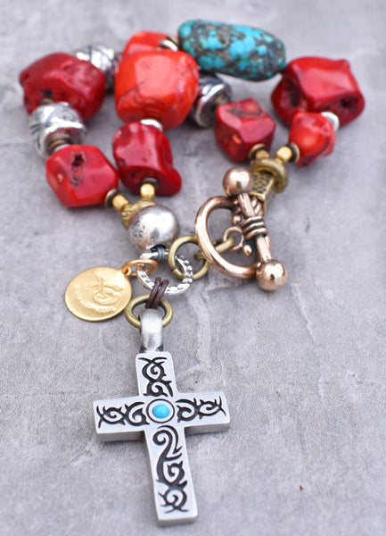 Southwest Inspired Coral, Turquoise and Silver Cross Charm Bracelet