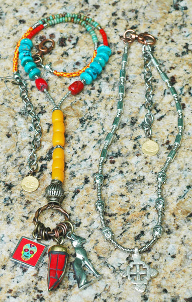 Funky Custom Turquoise, Coral and Amber Cat and Skull Charm Y Necklace