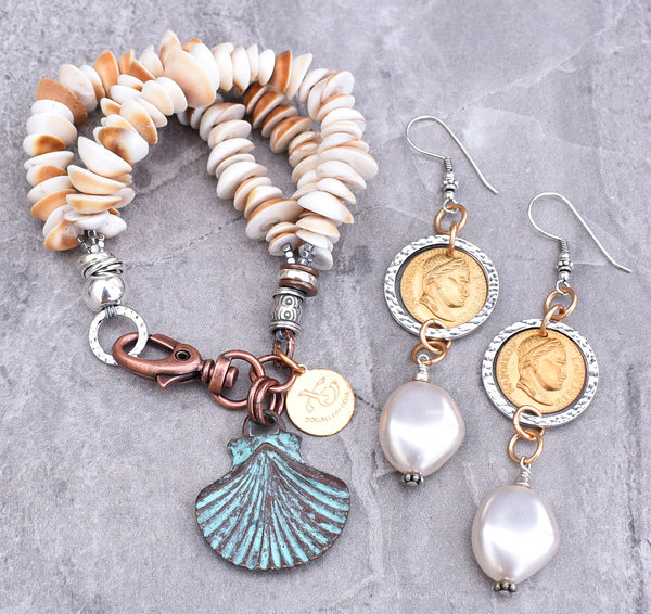 Summery Shell Charm Bracelet and Elegant Mother of Pearl Earrings