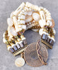 Designer Multi-Strand Bone,Shell and Pearl Statement Cuff Bracelet