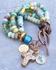 Blue Amazonite, Aqua Glass, Copper and Druzy Cross Charm Bracelet