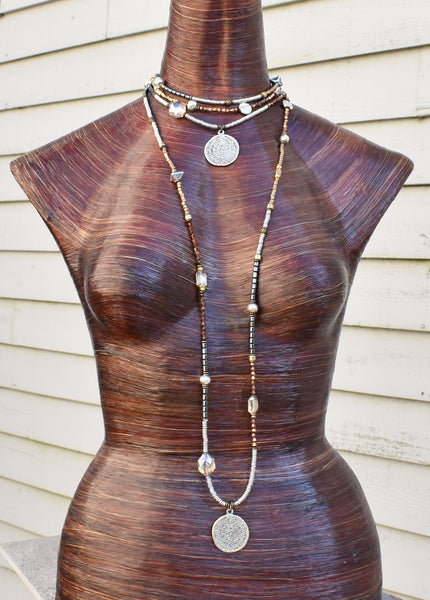 Mixed Metals and Crystal Pendant Necklace wear it Long or as a Choker $150