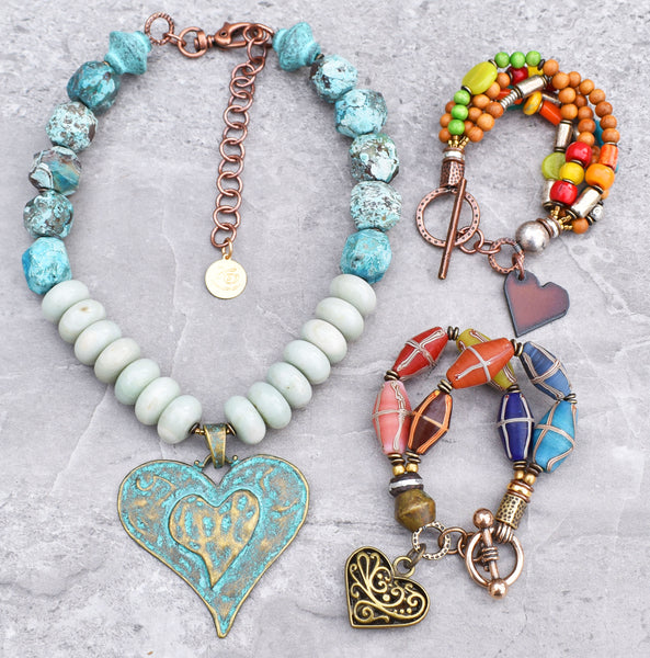 fun unique heart pendant necklace and heart charm bracelets