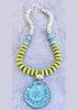 Custom Bold Lime Green, Turquoise and Silver Pendant Necklace