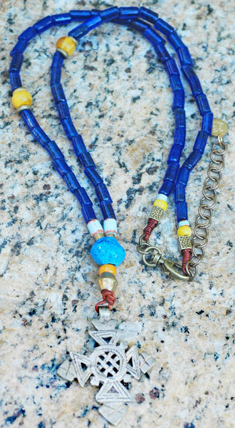Turkish Cobalt Blue Glass, Amber and Ethiopian Cross Pendant Necklace