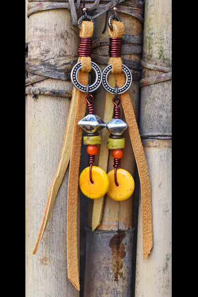 Tribal Orange, Yellow, Silver and Bohemian Leather Fringe Earrings