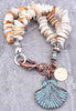 Operculum Shell, Silver & Copper Patina Scallop Beaded Charm Bracelet