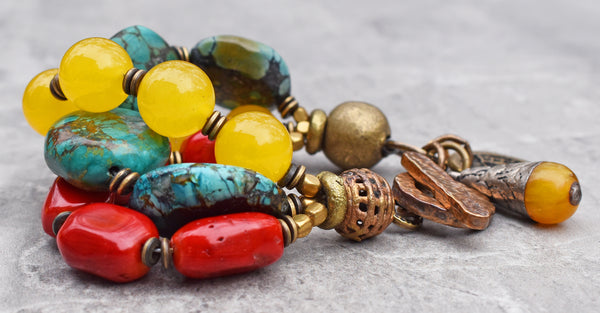 Tibetan Inspired Turquoise, Red Coral and Yellow Jade Charm Bracelet