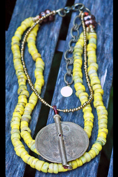 Ethnic Yellow Turkish Hebron Bead and African Disc Pendant Necklace