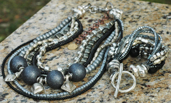 Captivating Gray, Charcoal, Silver and Black Statement Necklace