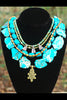 Imperial Blue Jasper, Turquoise and Bronze Pearl Statement Necklace
