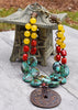 Tibetan Inspired Turquoise, Red Coral, Yellow and Bronze Coin Necklace