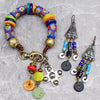 Custom African Krobo Charm Bracelet and Cobalt Blue Chandelier Earrings