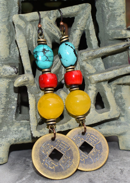 Tibetan Inspired Turquoise, Red Coral and Yellow Jade Coin Earrings