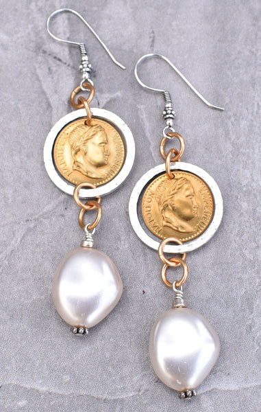Elegant White Mother of Pearl, Silver Ring & Gold Coin Dangle Earrings