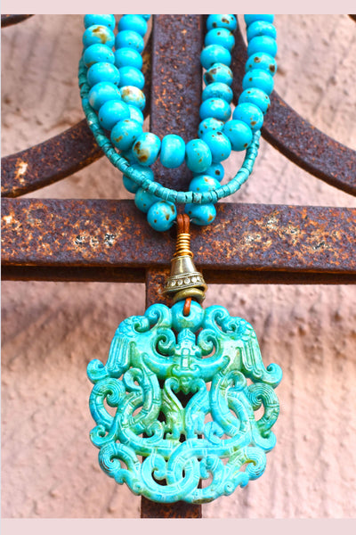 Stunning Bold Turquoise Bone and Carved Jade Dragon Medallion Necklace