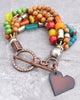 Colorful Bohemian Wood, Glass and Stone Iron Heart Charm Bracelet