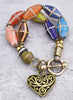 Vintage Venetian Glass French Cross Trade Bead Heart Charm Bracelet