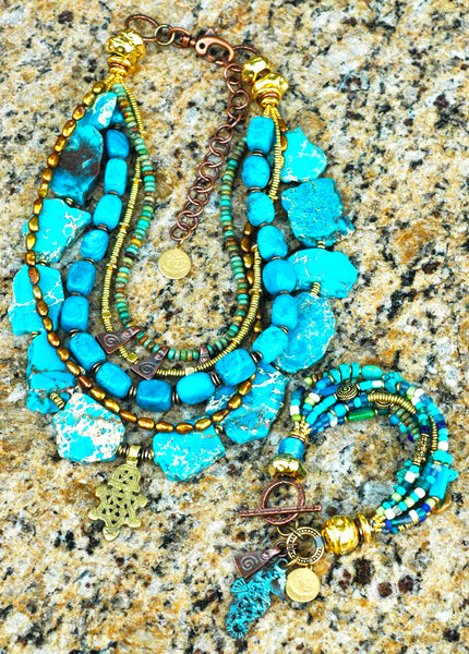 Beautiful Blue Jasper, Turquoise and Brass Statement Necklace and Seahorse Charm Bracelet