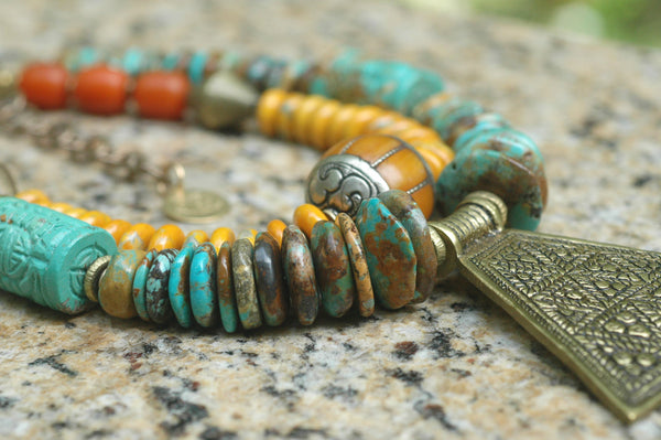 Tibetan Turquoise, Amber, African Brass & Nepalese Statement Necklace