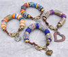 exotic and rustic African krobo bead heart charm bracelets