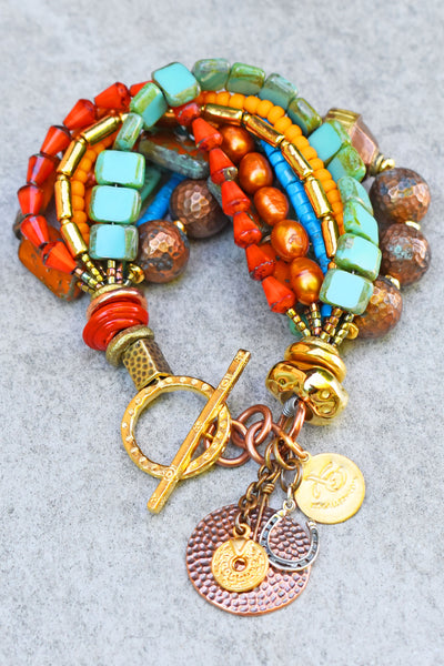 Desert-Inspired Copper, Gold, Orange Glass & Turquoise Charm Bracelet