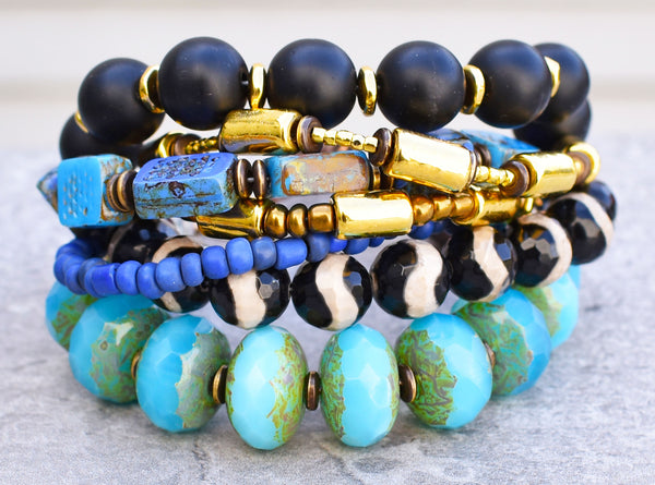 Gorgeous Bright Blue, Purple, Black and Gold Chunky Statement Bracelet