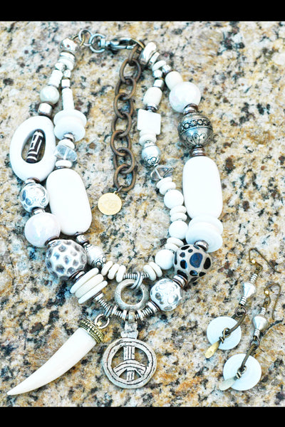 Commissioned Bold Funky Eclectic White and Silver Statement Jewelry
