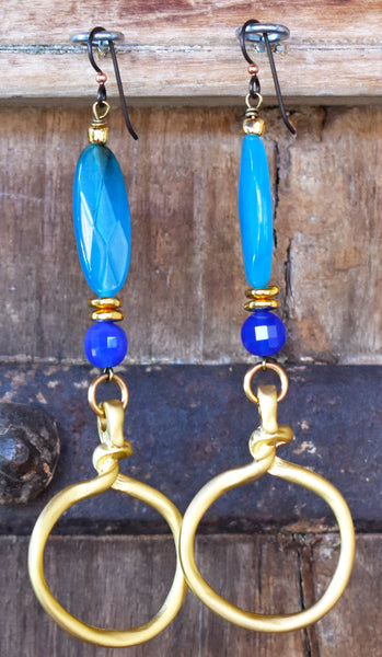 Surreal Sapphire Blue, Cerulean Jade and Brushed Gold Hoop Earrings