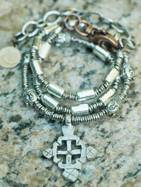 Silver Buddha Head and Ethiopian Cross Necklace