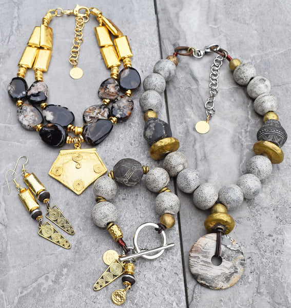 exotic black, gray, brass and gold winter statement jewelry