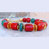 Bold Red Bamboo Coral, Turquoise and Gold Chunky Statement Choker
