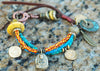 Soulful, Exotic Leather & Bead Mixed Media Boho Tribal Charm Bracelet