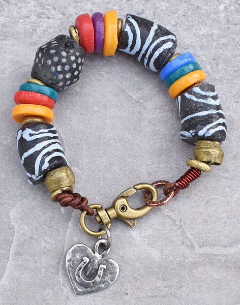 Rustic African Tribal Black and White Krobo Bead Heart Charm Bracelet